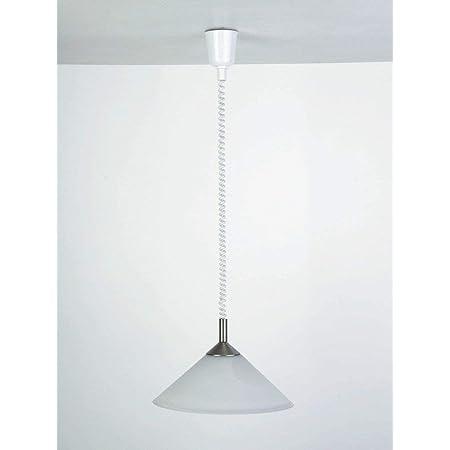 Brilliant 73578/13 Suspension Monte & Baisse-Acier/albatre Mat.plastique-E27, Verre/Métal/Plastique, E27, 100 W
