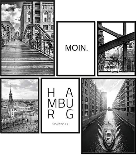 Papierschmiede® Mood-Poster Set Hamburg   Gerahmte Bilder in schwarzen Holzrahmen   Wohnzimmer & Schlafzimmer   2X DIN A4 und 4X DIN A5   Hafen Hauptstadt des Nordens...