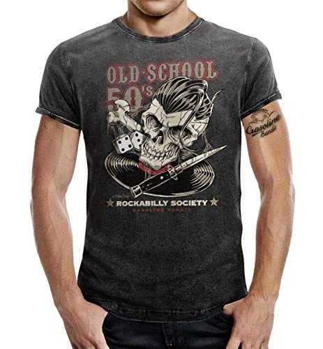 Rockabilly Greaser T-Shirt im Washed Jeans Look: Oldschool Fifties 50s L