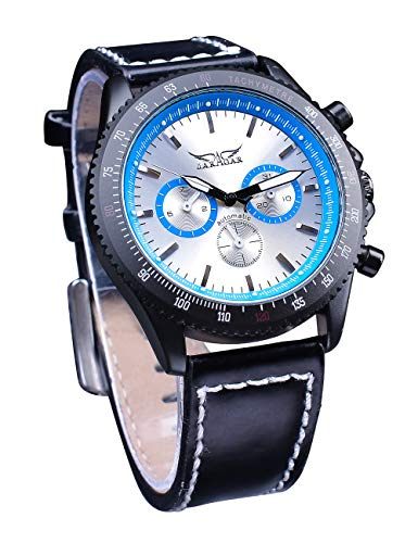 Jaragar Moda deporte 3 Dial cuero genuino correa para hombre automático relojes