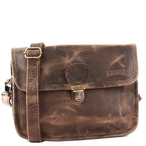 LECONI kleine Schultertasche Umhängetasche Damen Ledertasche Handtasche echtes Rindsleder 26x20x8cm schlamm LE3041-wax