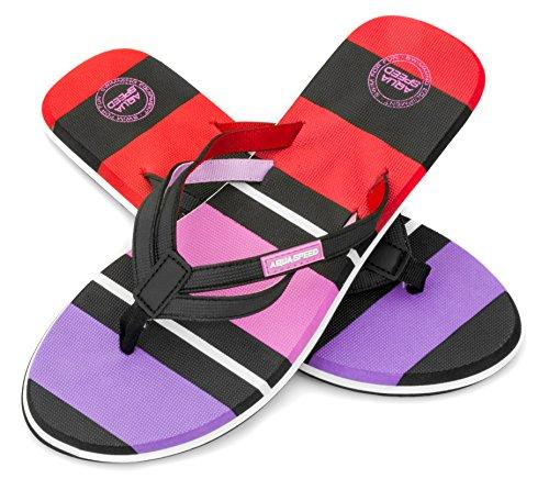 Aqua Speed® Marina damskie sandały z odkrytymi palcami   Flops   dla dorosłych   japonki   sandały   buty na basen   36-41, wielokolorowa - wielokolorowa - 36 EU