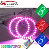 RGB Led Angel Eyes Halo Rings - NSLUMO Multi Color Remote Control 100mm 5050SMD Led Halo Ring Headlight Daytime Running Light Fog Housing Color Changing Lamp Universal Compatible Led Ring Light Kit