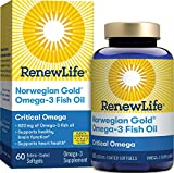 Renew Life Norwegian Gold Adult Fish Oil - Critical Omega, Fish Oil Omega-3 Supplement - Gluten & Dairy Free - 60 Burp-Free Softgel Capsules (Package May Vary)