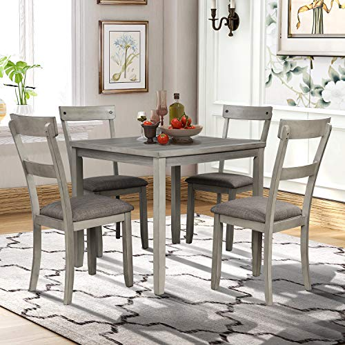 5 Piece Dining Table Set Industrial Wooden Kitchen Table and 4 Chairs for Kitchen, Dining Room (Light Grey)