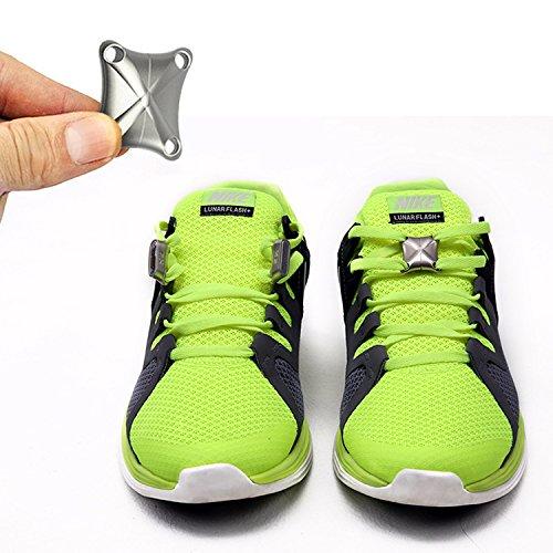 Inovey 1 Paar Magnetische Schnürsenkel Schnalle Sneaker Magnetische Verschluss Schnürsenkel Schnallen No-Tie Schnürsenkel Schnallen -Silber