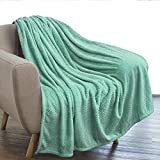 PAVILIA Luxury Flannel Fleece Blanket Throw Teal Mint Green | Soft Decorative Jacquard Weave Microfiber Throw for Bed Sofa Couch | Velvet Textured Leaves Pattern | Lightweight Plush Cozy | 50'x60'
