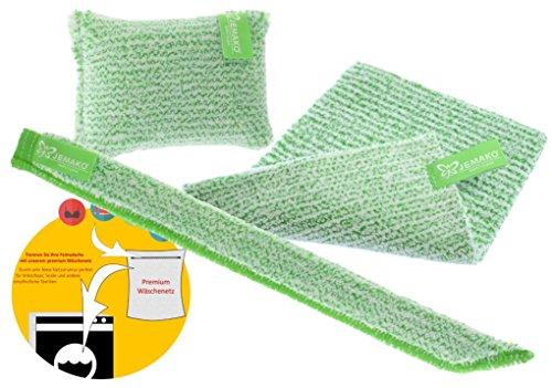 Jemako Set de 3chiffons fibre verte–Duo Chiffon–éponge de nettoyage poils courts–Clean Stick 35cm–avec sinland feinmaschiges Parure réseau