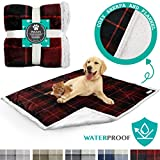 PetAmi Waterproof Dog Blanket for Couch, Sofa | Waterproof Sherpa Pet Blanket for Large Dogs, Puppies | Super Soft Washable Microfiber Fleece | Reversible Checkered Design | 60 x 40 (Red)