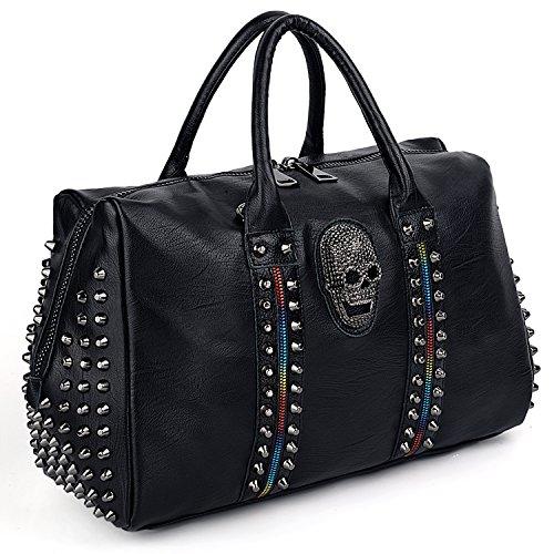UTO Women Skull Tote Bag Rivet Studded Colorful Zip Handbag PU Leather Purse Shoulder Bags A 512