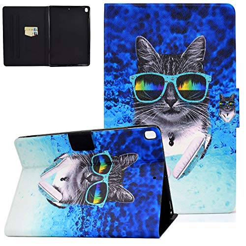 UGOcase iPad 10.2 Case 2019, iPad Air 3rd Gen 2019/iPad Pro 10.5 2017 Case with Card Slots, Auto Sleep Wake PU Leather Protective Folio Stand Shell for iPad 7th Generation 10.2' 2019 - Headphone Cat