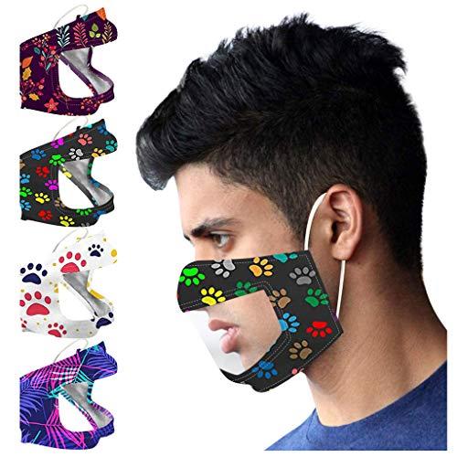 Jamicy 4 Stück Mundschutz mit Sichtfenster, Visible Lippen Mundschutz mit Fenster, Mund Nasenschutz Transparent Waschbar Staub Mundschutz mit Motiv, Wiederverwendbare Mack für Erwachsene