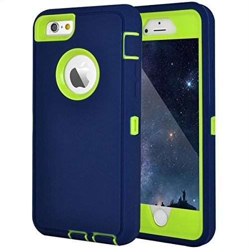 Maxcury Schutzhülle für iPhone 6, 6S, robust, stoßfest, 11,9 cm (4,7 Zoll) mit eingebautem Displayschutz, kompatibel mit Allen US-Trägern, Einzelhandelsverpackung, Marineblau und Limettengrün