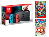 Nintendo Switch Rouge/Bleu Néon 32Go Pack + Super Mario Odyssey + Captain Toad: Treasure Tracker