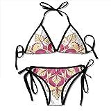 Adjustable Bikini Set Halter Ladies Swimming Costume, Folk Shabby Chic Floral Ethnic Pattern with Arabesque Effects Boho Elegance Image,Halter Beach Bathing Swimwear