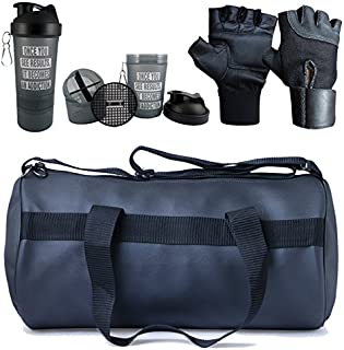 Hyper Adam AN-90 Multi-Purpose Gym Bag, Protein Shaker and Gym Glove with Wrist Support Combo