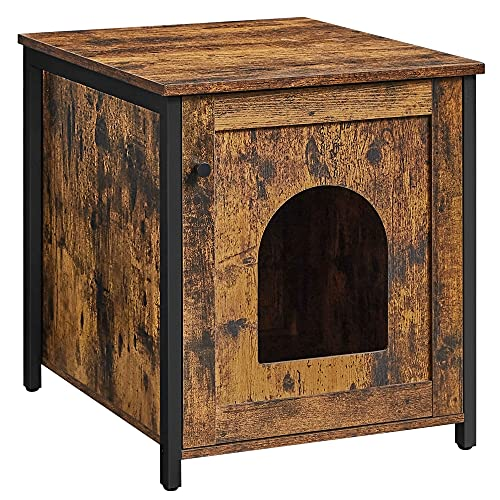 VASAGLE Cat Litter Box Furniture, Hidden Litter Box Enclosure Cabinet, Cat Washroom with Single Door, End Table, Rustic Brown and Black UPCL611B01