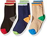 Jefferies Socks Boys' Little Wide Rib Cotton Crew 3 Pair Pack, Multi, Medium