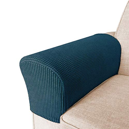 High Stretch Armrest Covers for Chairs and Sofas Spandex Jacquard Fabric Small Checks Armchair Covers for Arms Couch Arm Covers Armrest Covers for Sofa/Recliner Non Slip, Set of 2, Deep Teal
