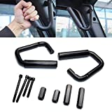 JEEP JK Grab Handles 1 Pair Black Hard Mount Car Front Handle Grab Bar for Jeep Wrangler JK JKU Sports Sahara Freedom Rubicon X & Unlimited 2007-2017 2/4 Door Roll Bar