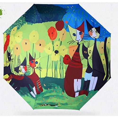 EFKKLM Femmes Filles Bleu Animal Parapluie Pliant Parapluie Pluvieux 190T Tissu en Nylon Parapluies Ensoleillés Anti-UV Hommes Fille
