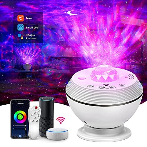 Alexa planetario proyector, lampara infantil nocturna Luz LED con control remoto y función de cronometraje, Compatible con las luces de lectura nocturna Amazon Alexa y Google Assistant,regalos perfec