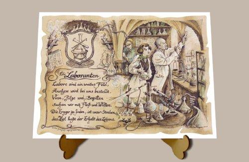 Die Staffelei Geschenk Labor Laborant Laboranten Chemiker Zeichnung Color 20 x 15 cm mit Aufsteller