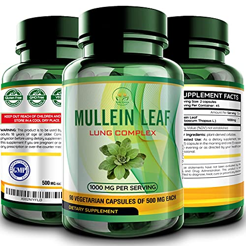 Mullein Leaf Capsules Extract - Herbal Lungs Supplement for Respiratory Health, Smokers Lung Cleanse   Vegan Pills
