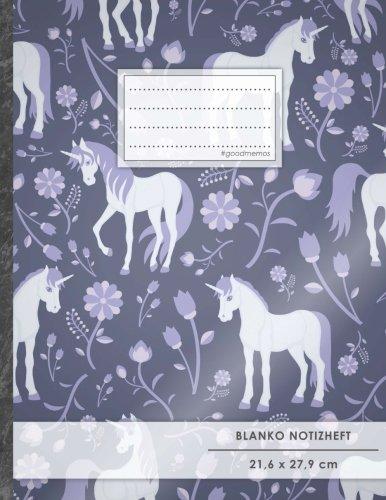 """Blanko Notizbuch • A4-Format, 100+ Seiten, Soft Cover, Register, """"Einhorn Trend"""" • Original #GoodMemos Blank Notebook • Perfekt als Zeichenbuch, Skizzenbuch, Blankobuch, Leeres Tagebuch"""