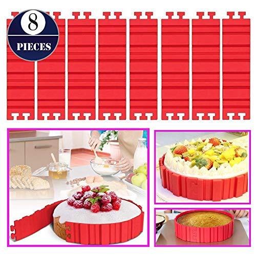 Woohome 8 Stück Kuchenformen Silikon Magic Backformen Bake Snake Tortenring Verstellbar Nonstick Cake Mould für DIY Ihre Kuchen Jede Form