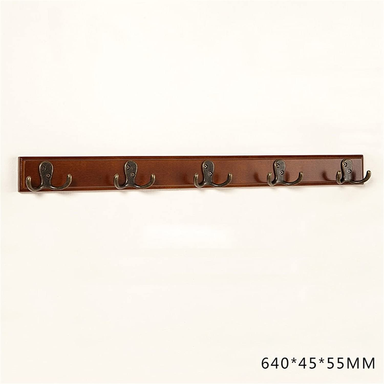 DYFYMX European Solid Wood Hanger Hanger Hook Five Rows of Hooks Free-Standing Coat and hat Rack (color   Walnut color, Size   64cm)