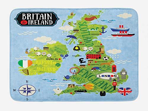 ABAKUHAUS Dibujos Animados Tapete para Baño, Mapas de Gran Bretaña Irlanda, Decorativo de Felpa Estampada con Dorso Antideslizante, 45 cm x 75 cm, Azul pálido Manzana Verde
