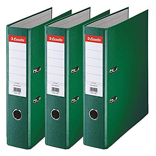 Esselte 624293 - Archivador con anillas (Capacidad 550 hojas, 3 unidades), verde, 75 mm