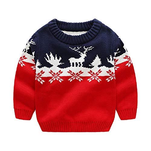 G-Kids Kinder Jungen Strickjacke Strickpullover Baby Weihnachten Elch Langram Rundals Cardigan Sweatshirt Pulli Rot 100