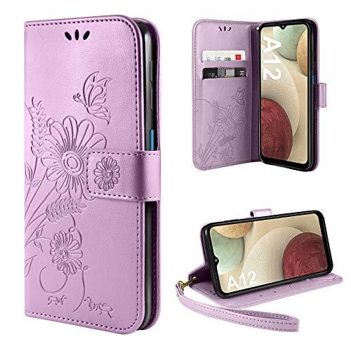 ivencase Handyhülle Kompatibel mit Samsung Galaxy A12 / M12 Hülle Flip Lederhülle, Handyhülle Book Case PU Leder Tasche Case und Magnet Kartenfach Schutzhülle - Helles Lila