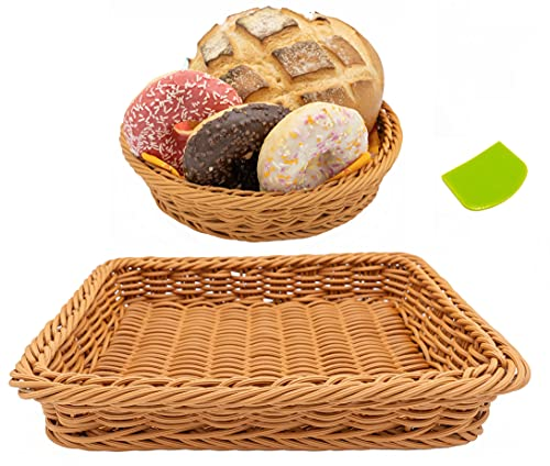 2 Woven Basket Tray Set with A Dough Scraper Included, Sturdy, Washable and Multifunctional Wicker Food Baskets. Rectangular and Circular Shaped Baskets for Gifts, Fruits, Vegetables and Ornaments