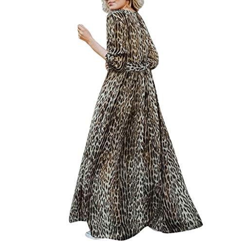 Damen Kleider Elegant Lang Hochzeit Festlich, Vintage Spitzenkleid mit Leopard gedruckt Hochzeit Chiffon Maxikleid Sommerkleider Lange Ärmel Schulterkleid Blumenmuster Kurzes Strandkleid