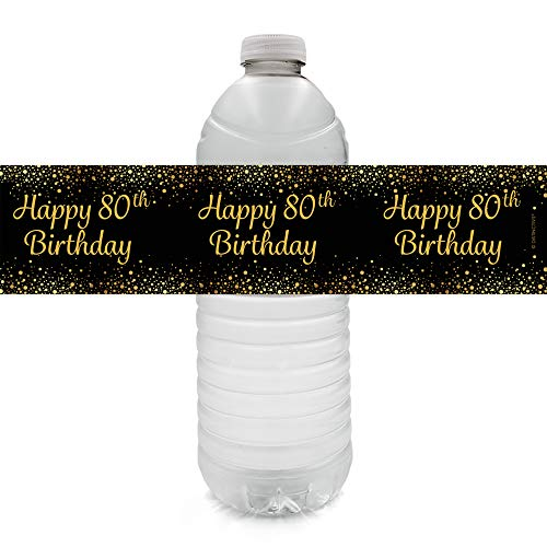 Black and Gold 80th Birthday Party Water Bottle Labels (24 Count)