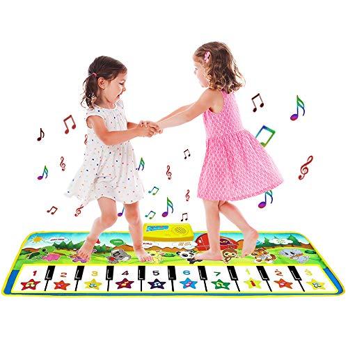 sanlinkee Piano Matte Tanzmatten Klaviermatte für Kinder,100X36 cm Musikmatte Kinder 8 Tierstimmen 9 Demo Klaviertastatur Baby Tanzmatte für Jungen Mädchen