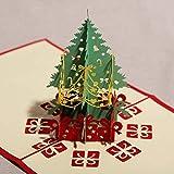 Awiontl Regalo de Bendición de Navidad Creativo 3D Tridimensional Tallado de Papel Tarjeta de Origami Hecha a Mano Bricolaje Regalo de Bendición de Navidad Árbol de Navidad 15cm x 15cm AOS-A