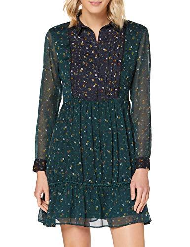 Springfield Frq.Vestido Camisero Micro Flor-C/27 Vestido de Fiesta, Verde (Green 27), 38 (Tamaño del Fabricante: 38) para Mujer