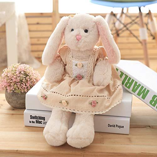 yfkjh Schlafen, um Kaninchen zu besänftigen, Plüsch Spielzeug Puppen, Baby-Schlaf, Puppen, Baby Puppen Kissen, Geburtstagsgeschenk Mädchen 40 cm Blumenrock lang Ohr Kaninchen Puppe weiß