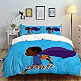 Superartvibe 4 Pcs Kids Bedding Set African American Boy Soft All Season Customizable Name Duvet Cover Sets Gifts for Teens and Boys
