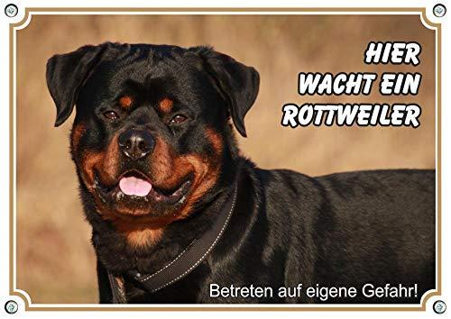 Petsigns Warnschild mit Rottweiler -Hundeschild aus Metall in TOP Fotoqualität, DIN A5