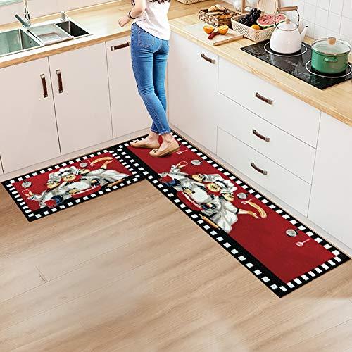 FAMIFIRST Kitchen Rug 2 Piece Non Slip Kitchen Mat Latex Backing Door Mat Floor Mat Kitchen Decor Set, 16''x47''+16''x23'', Red Chef
