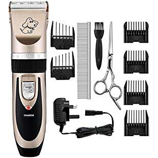 Dog Clippers, OMorc Low Noise Pet Clippers Rechargeable Cordless Dog Trimmer Pet Grooming Tool Professional Dog Hair Trimmer with 6 Comb Guides scissors for Dogs Cats and Other Animals:Porcelanatoliquido3d