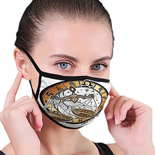 Herbruikbare Ski Fietsen Gezichtsmasker Mond Masker Weegschaal Dierenriem Teken Horoscoop Cirkel Rond Tekenen con