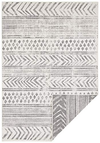 bougari In- & Outdoor Biri - Alfombra Reversible (160 x 230 cm), Color Gris y Crema