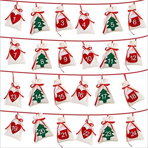 Queta 24 Adventskalender Stoffbeutel Countdown-Kalender zum Befüllen Weihnachtskalender Geschenksäckchen für Christbaumschmuck Wanddekoration (Fühlte)
