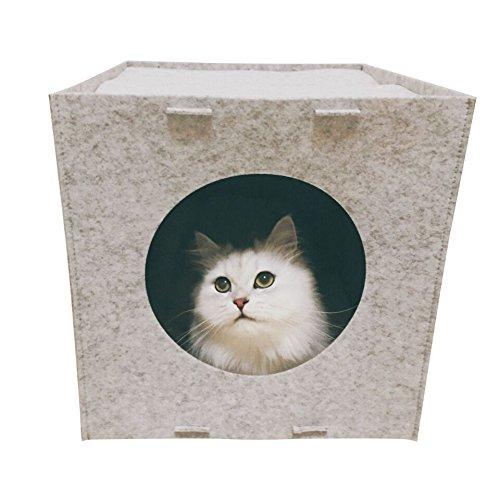 FIRIK(フィリク)猫 ハウス室内用 猫寝袋 猫ベッド フェルト ねこ 犬 ベッド 犬小屋 家具収納に専用 柔らかい 暖かい 取り付ける IKEA収納棚に適用する 秋冬